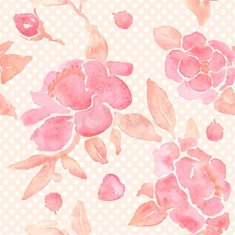 与牡丹花的水彩无缝的墙纸 库存例证