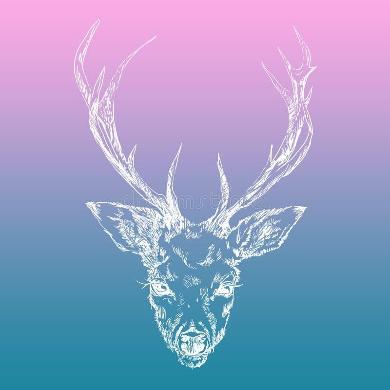 与牡丹被种植的有角的垫铁的一头幼小鹿 例证 设计纹身花刺,神秘的