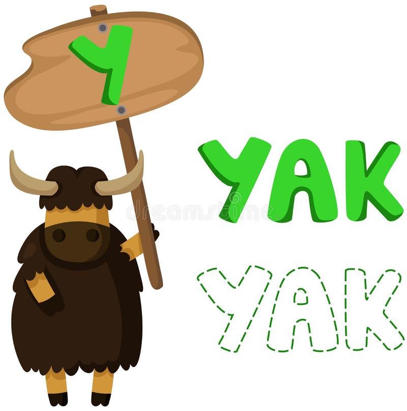 与牦牛的动物字母表y 皇族释放例证