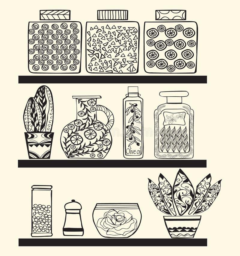 与物品的厨房或餐具室架子 皇族释放例证
