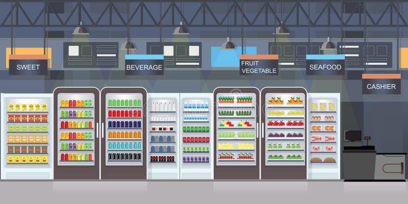 与物品的超级市场内部在架子 向量例证
