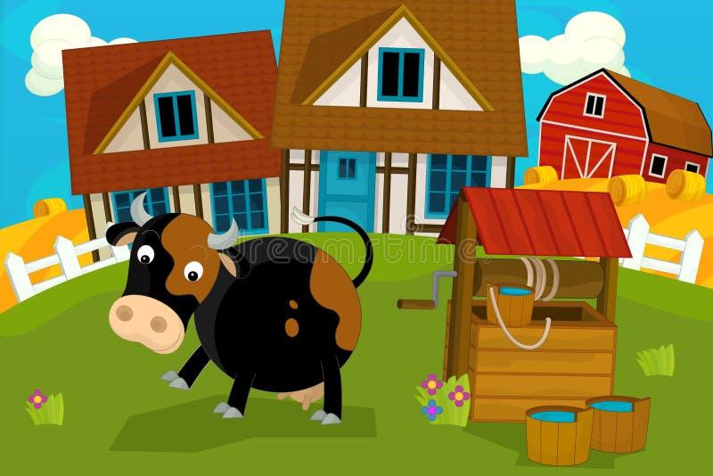 与牲口母牛的动画片农村场面 皇族释放例证