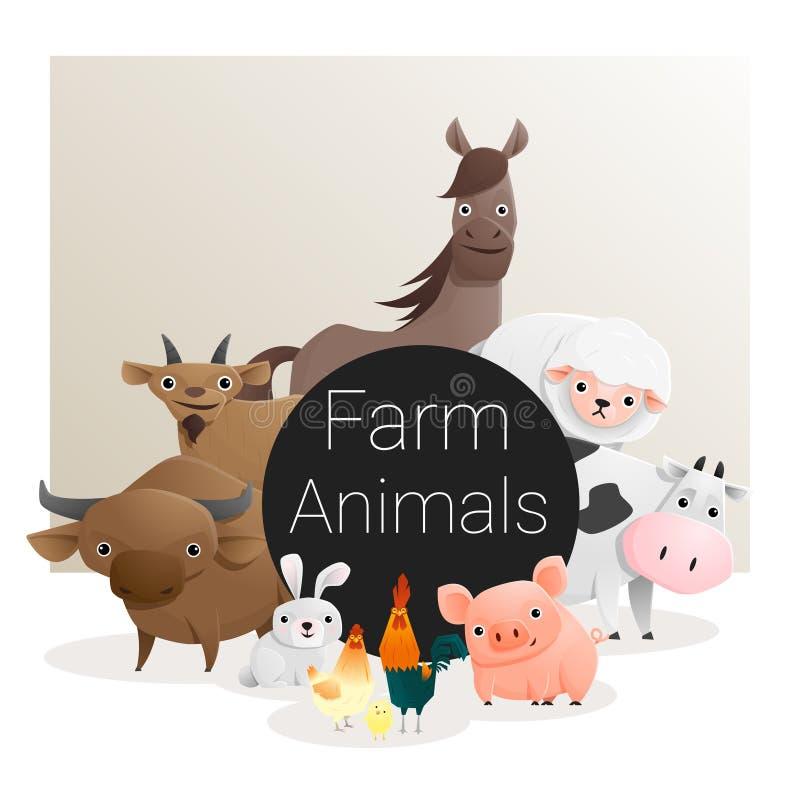与牲口的逗人喜爱的动物家庭背景 向量例证