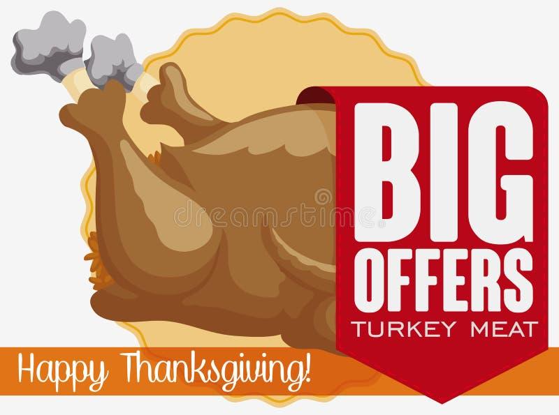 与特别折扣的丝带在感恩晚餐的,传染媒介例证土耳其肉 皇族释放例证