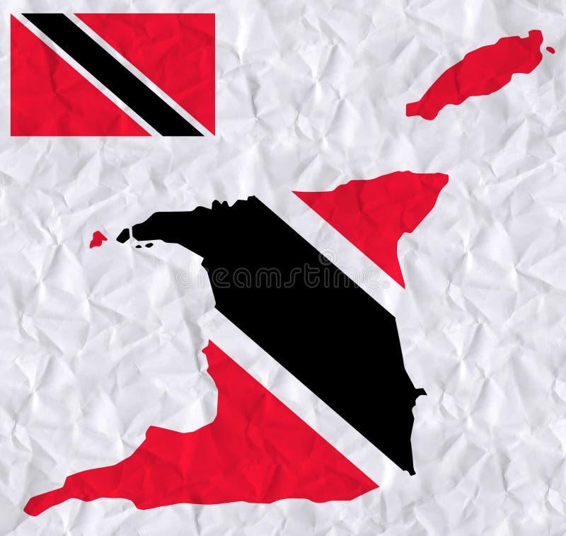 与特立尼达和多巴哥旗子和地图水彩绘画的传染媒介老压皱纸  向量例证