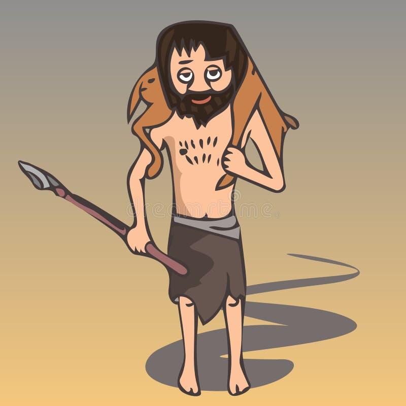 与牺牲者传染媒介动画片的古老猎人 向量例证