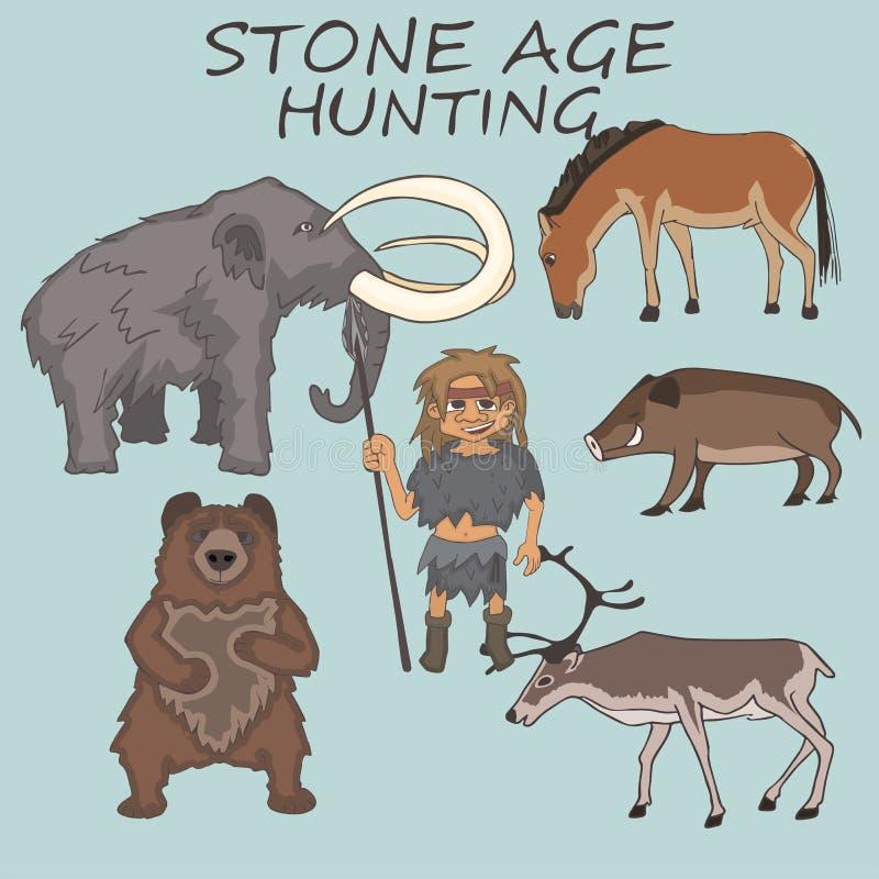 与牺牲者例子动画片的石器时期猎人 向量例证