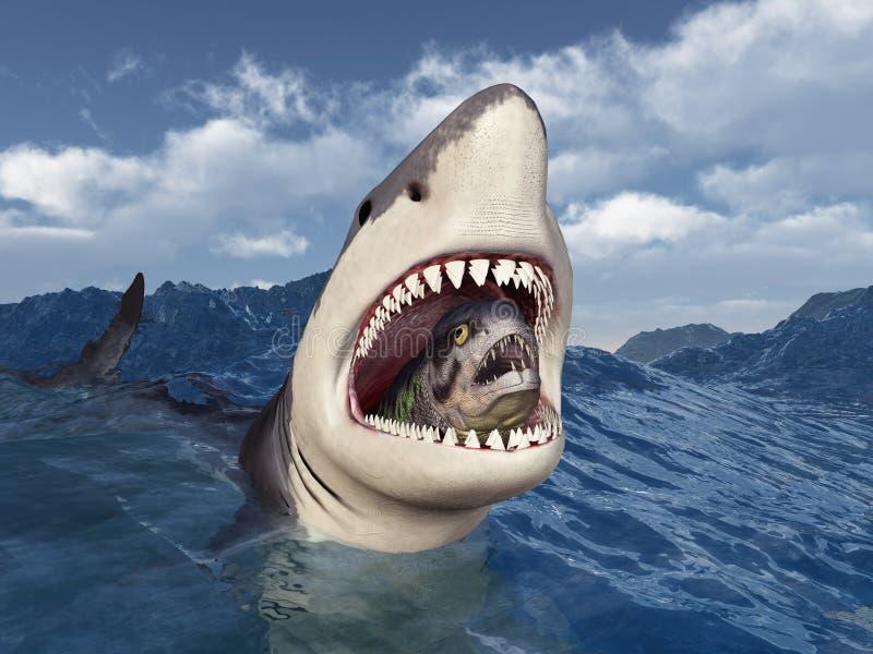 与牺牲者的大白鲨鱼在它的嘴在风雨如磐的海 皇族释放例证
