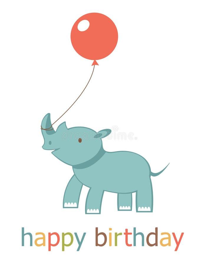 与犀牛的生日快乐看板卡 皇族释放例证