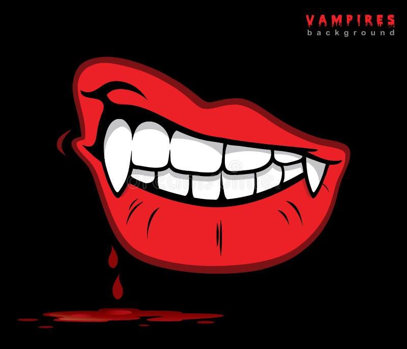 与犬齿的吸血鬼嘴唇 皇族释放例证