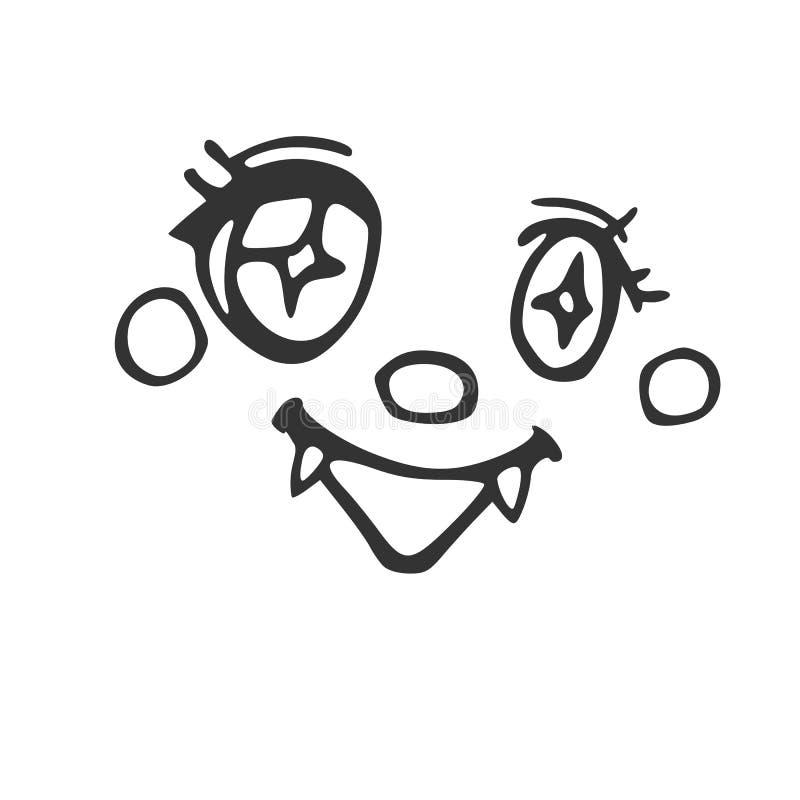 与犬齿的快乐的有吸引力的面孔,焕发,在眼睛的光 库存例证