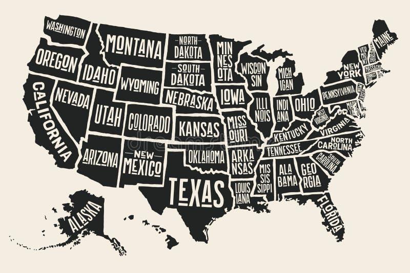 与状态名字的海报地图美利坚合众国 库存例证