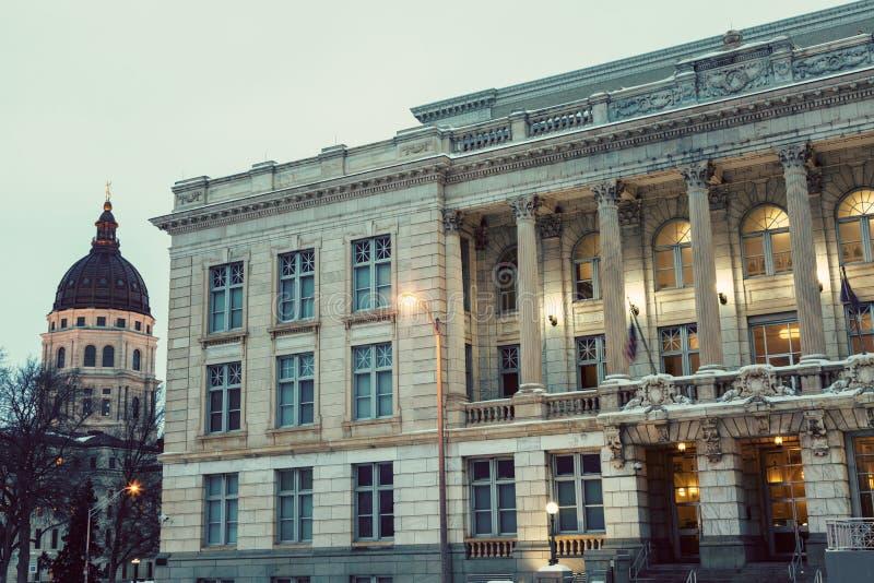 与状态国会大厦大厦的Topeka建筑学 库存图片