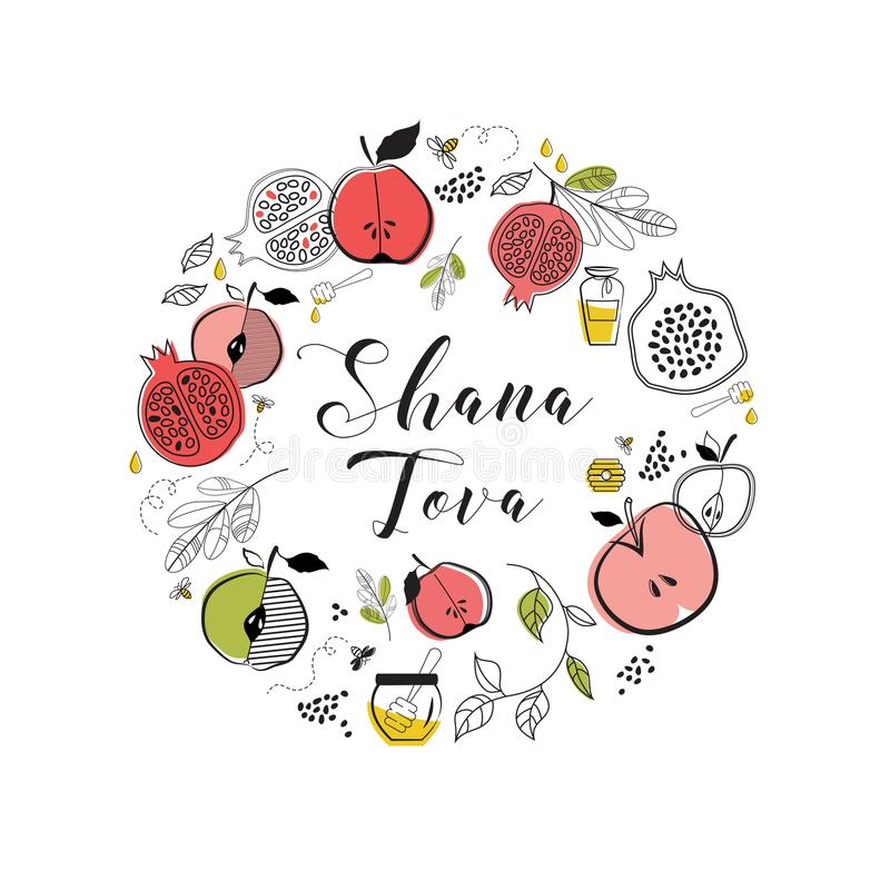 与犹太假日Rosh Hashana,新年的标志的贺卡 新年好, shana tova祝福  向量 皇族释放例证