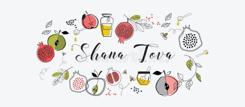 与犹太假日Rosh Hashana,新年的标志的问候横幅 新年好, shana tova祝福  向量 皇族释放例证