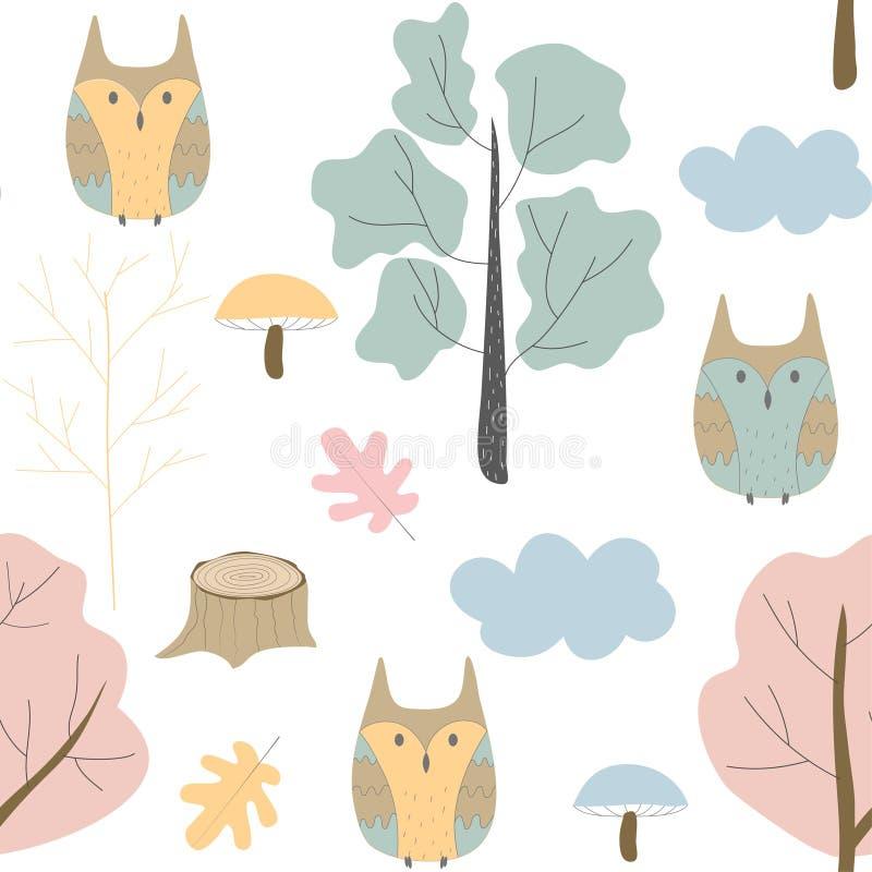 与狂放的自然、森林和猫头鹰的无缝的样式 传染媒介设计,儿童的例证 向量例证