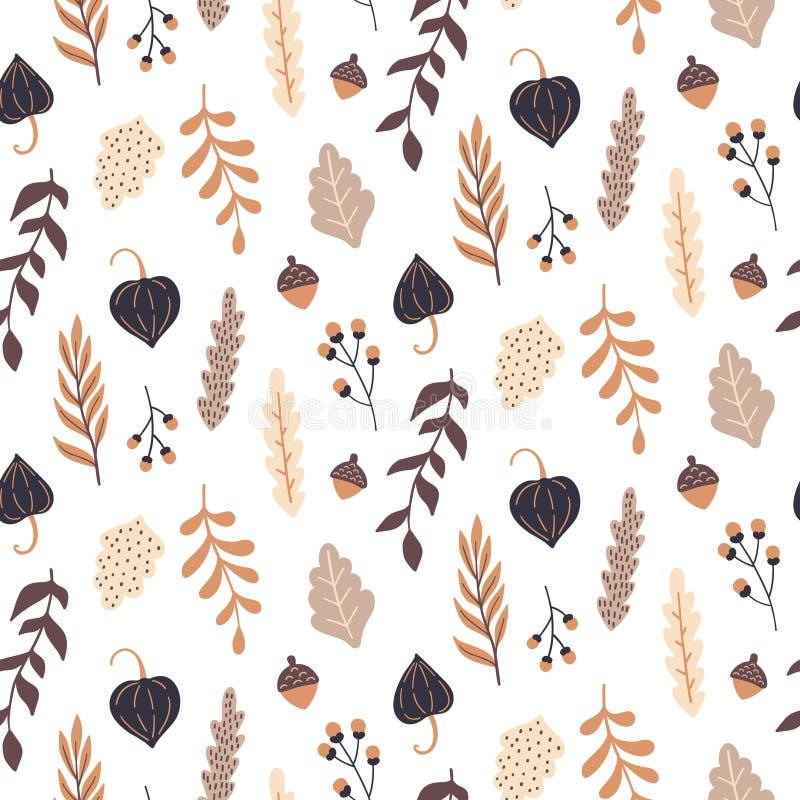 与狂放的花卉元素的秋天无缝的样式 手拉的叶子,花,草本,橡子 向量例证