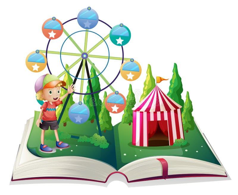 与狂欢节和一个年轻男孩的一本开放故事书 库存例证