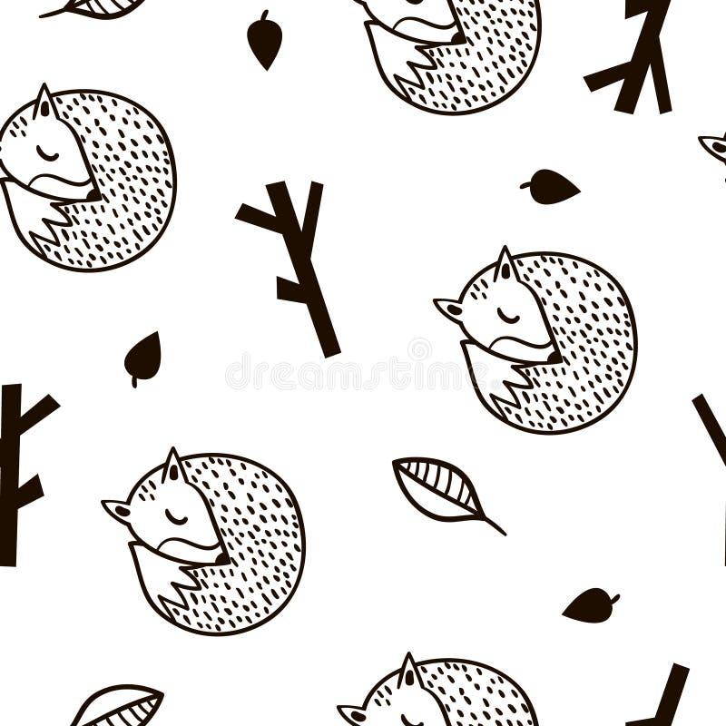 与狐狸、分支和叶子的无缝的黑白样式 在斯堪的纳维亚样式的Minimalistic纹理 向量背景 皇族释放例证