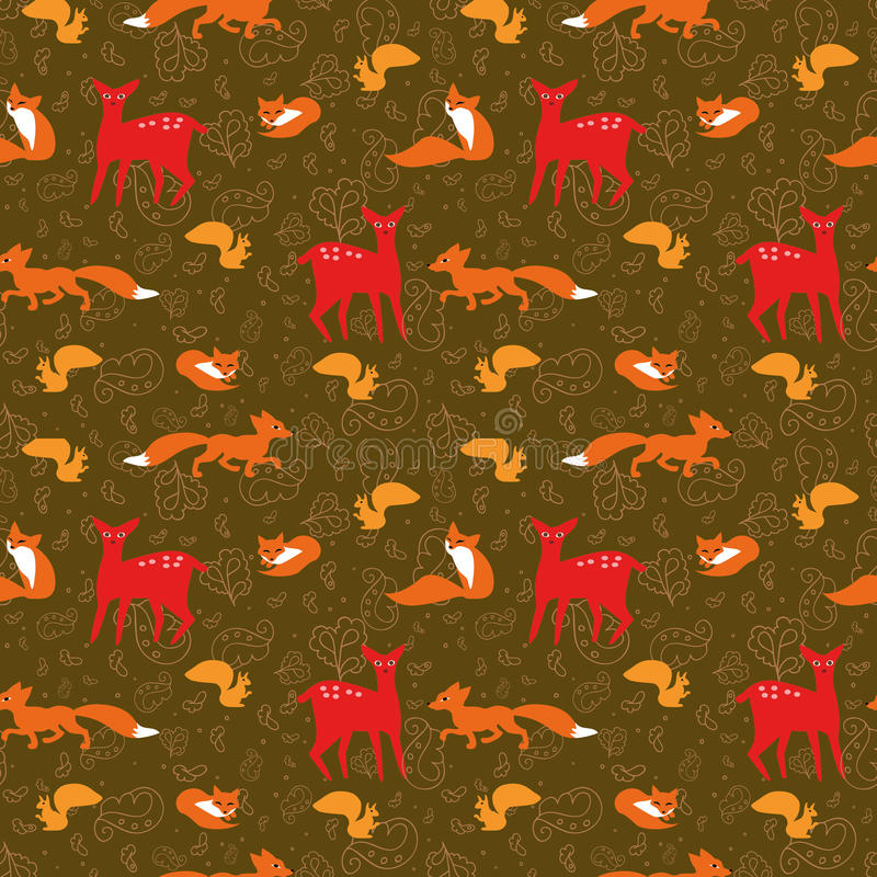 与狐狸、灰鼠、鹿和flo的无缝的样式 皇族释放例证