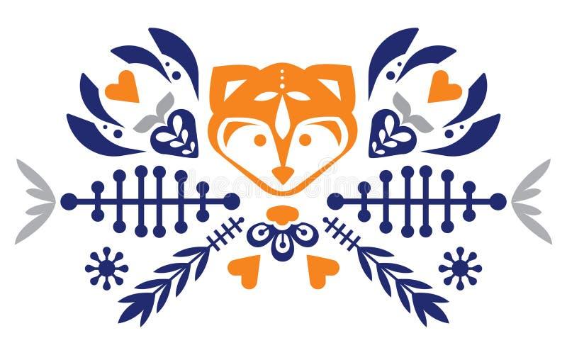 与狐狸和花的民间逗人喜爱的民间样式 被仿造的重点 吉祥人 徽标 向量例证