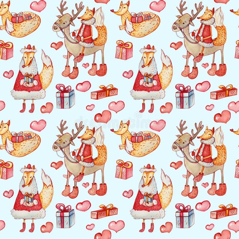 与狐狸和驯鹿的无缝的圣诞节样式在蓝色背景 库存例证