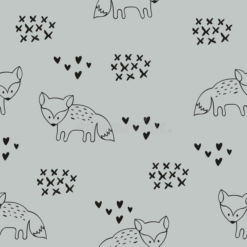 与狐狸的传染媒介无缝的样式 儿童` s屋子和衣裳的设计的装饰背景 库存例证