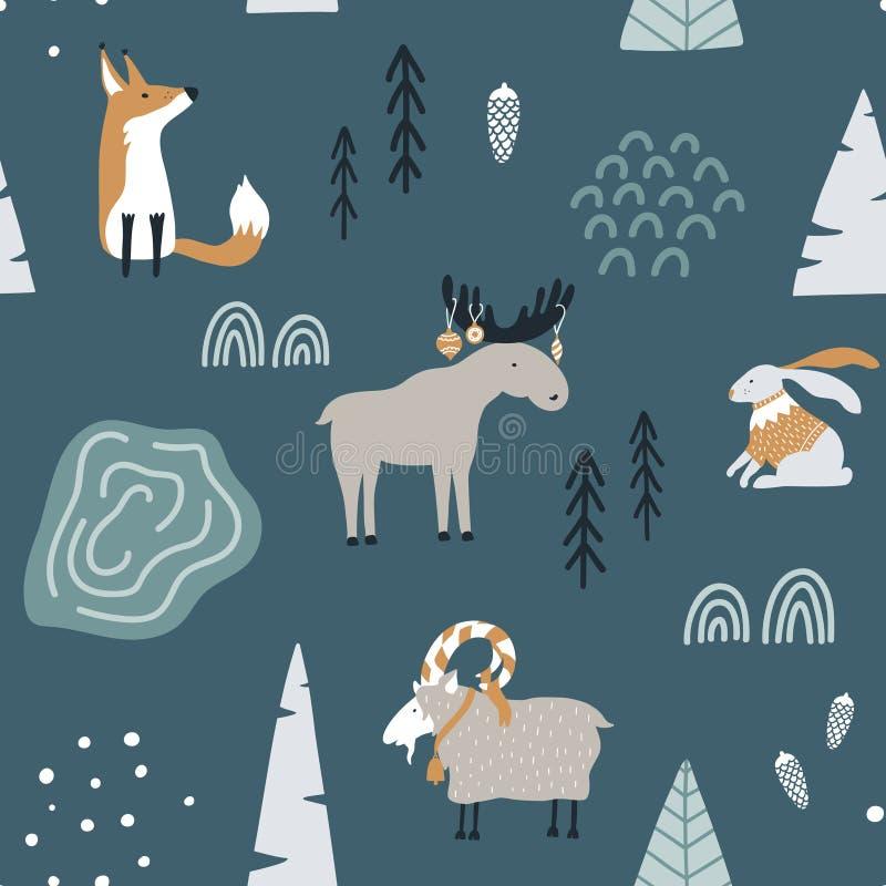 与狐狸的手拉的无缝的样式,山羊、麋和兔子在森林斯堪的纳维亚圣诞节设计 向量例证