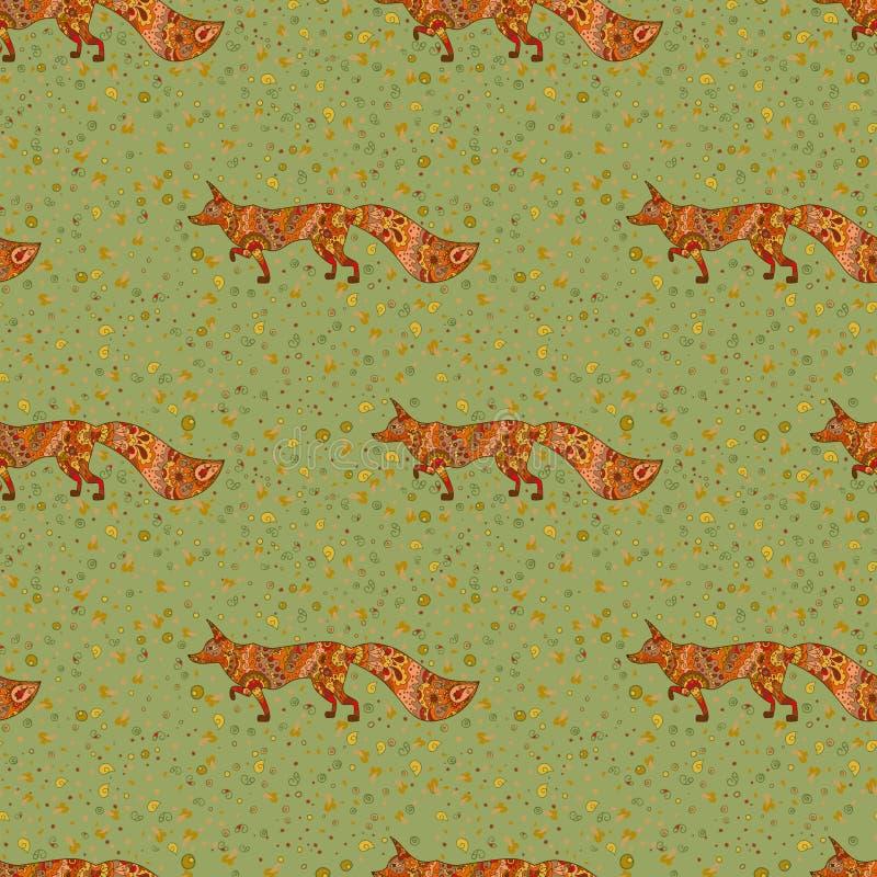 与狐狸的无缝的手拉的样式 向量例证