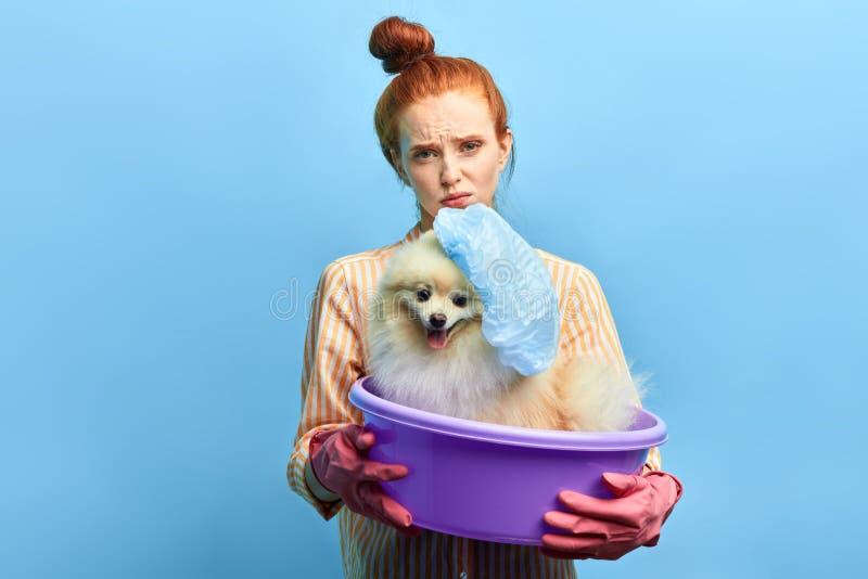 与狗佩带的泳帽的哀伤的红发女孩藏品absin 免版税图库摄影