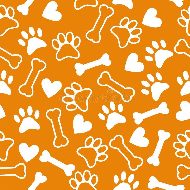 与狗爪子印刷品、骨头和心脏的无缝的样式 皇族释放例证