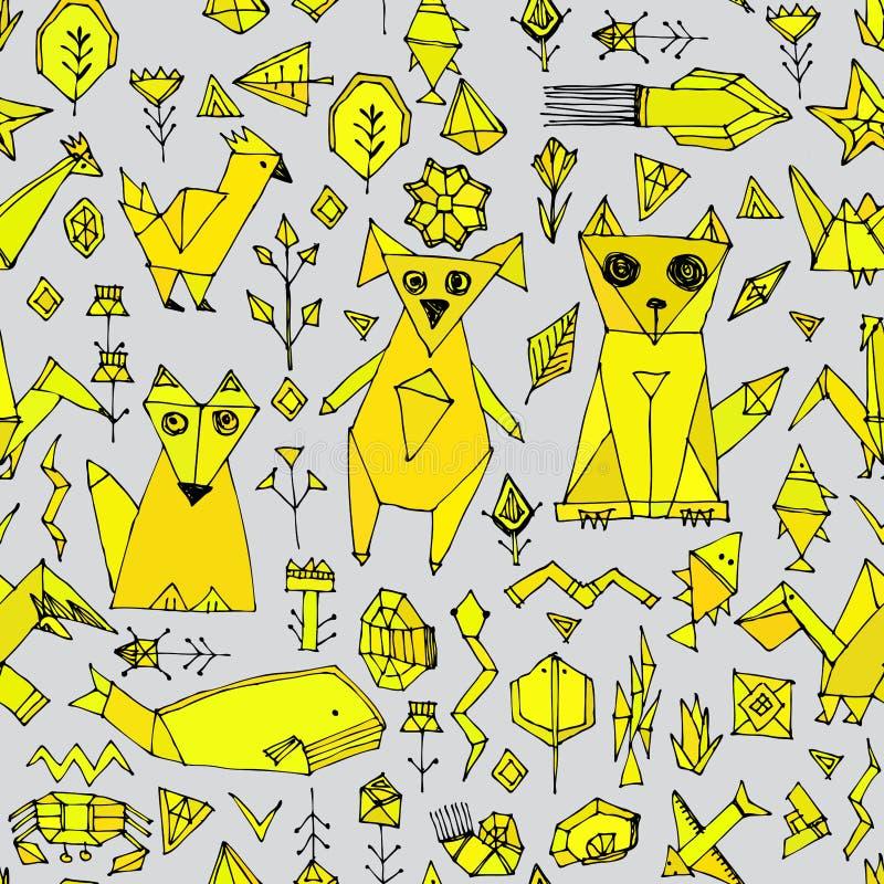 与狗猫狐狸鱼鸟海动植物,在灰色背景,乱画装饰的黑概述芥末黄色的无缝的样式 向量例证