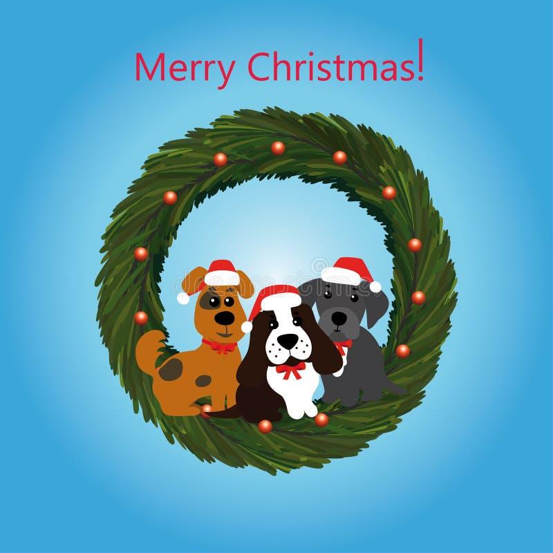 与狗的圣诞节花圈 库存例证