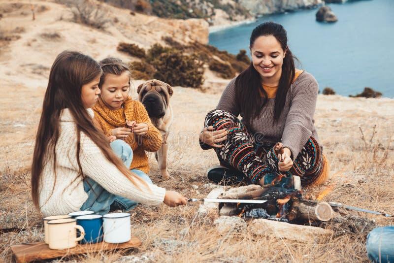 与狗的家庭在秋天高涨 免版税库存照片