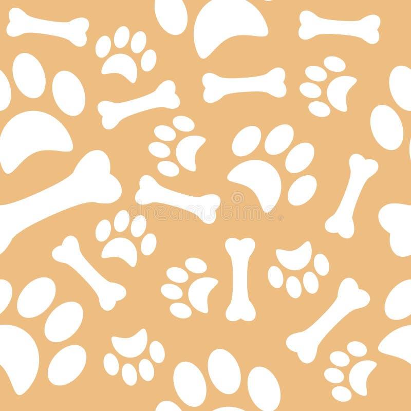 与狗脚印和一根甜骨头的一个样式 商店动物园的包装纸 向量例证