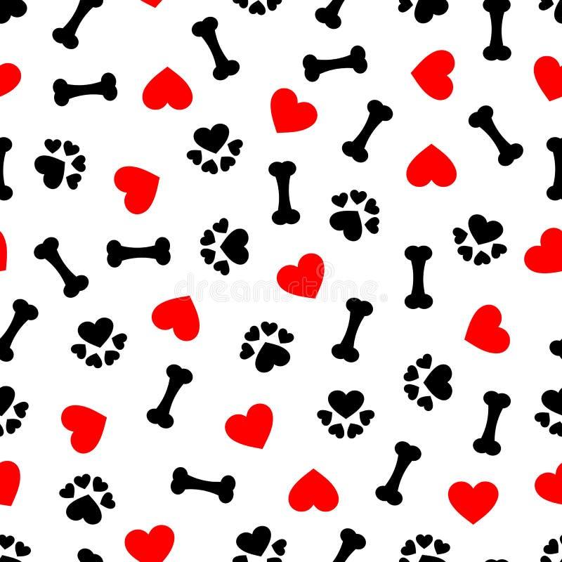 与狗骨头、爪子印刷品和红色心脏,透明背景的逗人喜爱的无缝的样式 库存例证