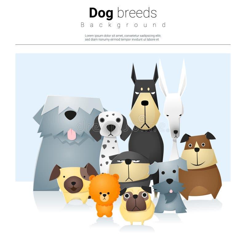 与狗2的动物背景 向量例证
