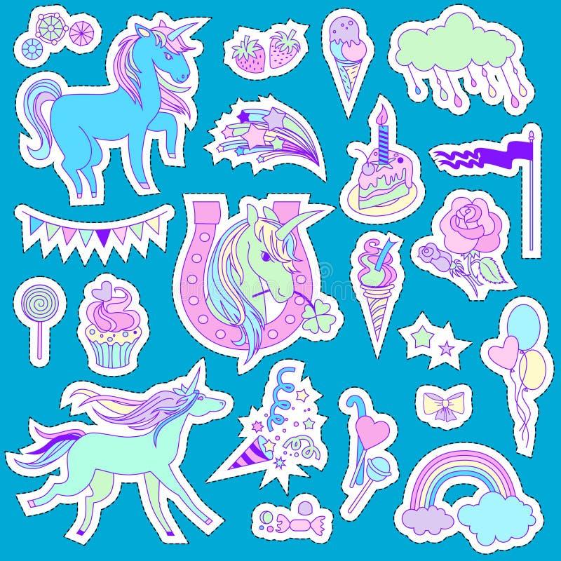 与独角兽、云彩、蛋糕、甜点、冰淇凌, baloons,玫瑰色的独角兽多色贴纸和在蓝色背景的旗子 向量例证
