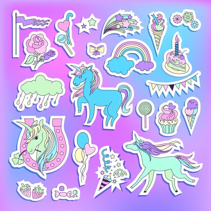与独角兽、气球、蛋糕、甜点、冰淇凌、云彩、星、烟花和旗子的独角兽多色贴纸 皇族释放例证