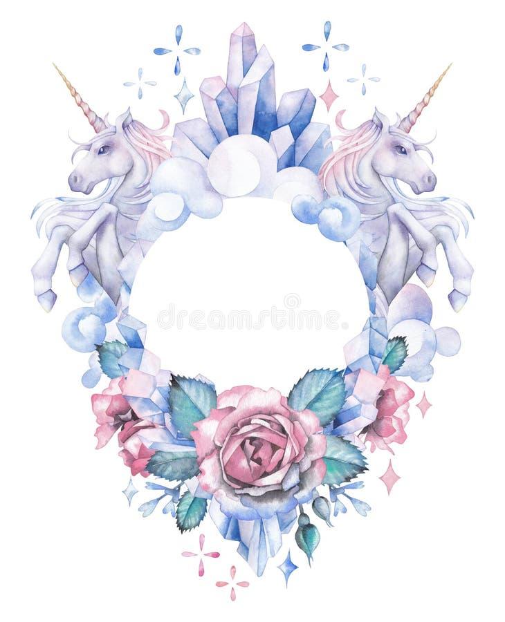 与独角兽、水晶、玫瑰和云彩的水彩设计 库存例证