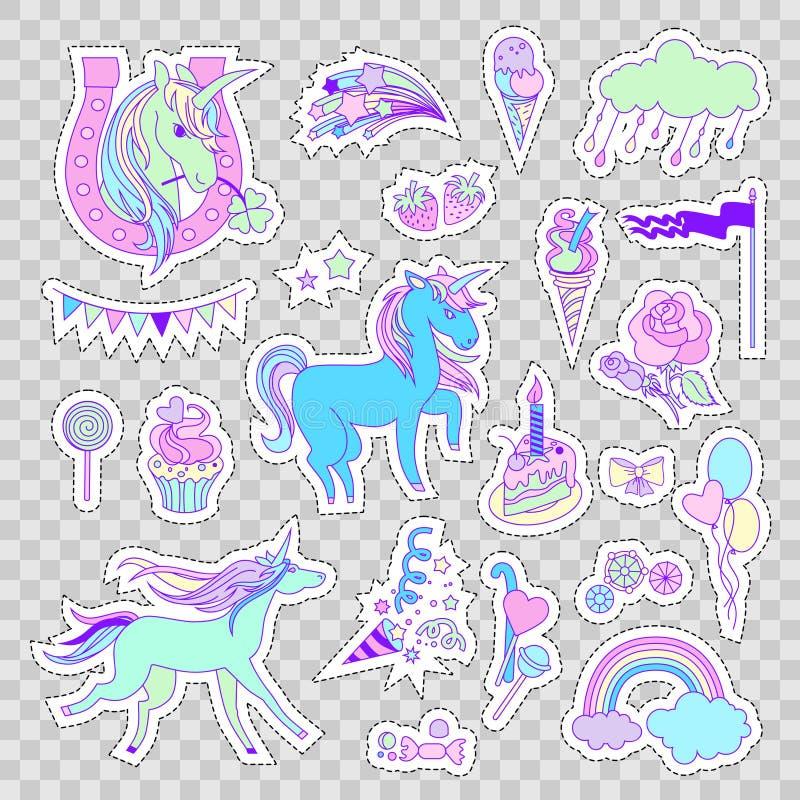 与独角兽、蛋糕、甜点、冰淇凌、云彩、星和旗子的独角兽多色贴纸 向量例证