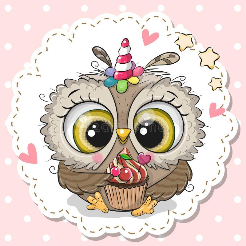 与独角兽和杯形蛋糕的垫铁的动画片猫头鹰 皇族释放例证
