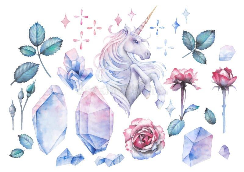 与独角兽和玫瑰色小插图的水彩设计 向量例证