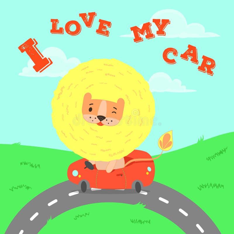 与狮子的逗人喜爱的卡片在汽车 库存例证