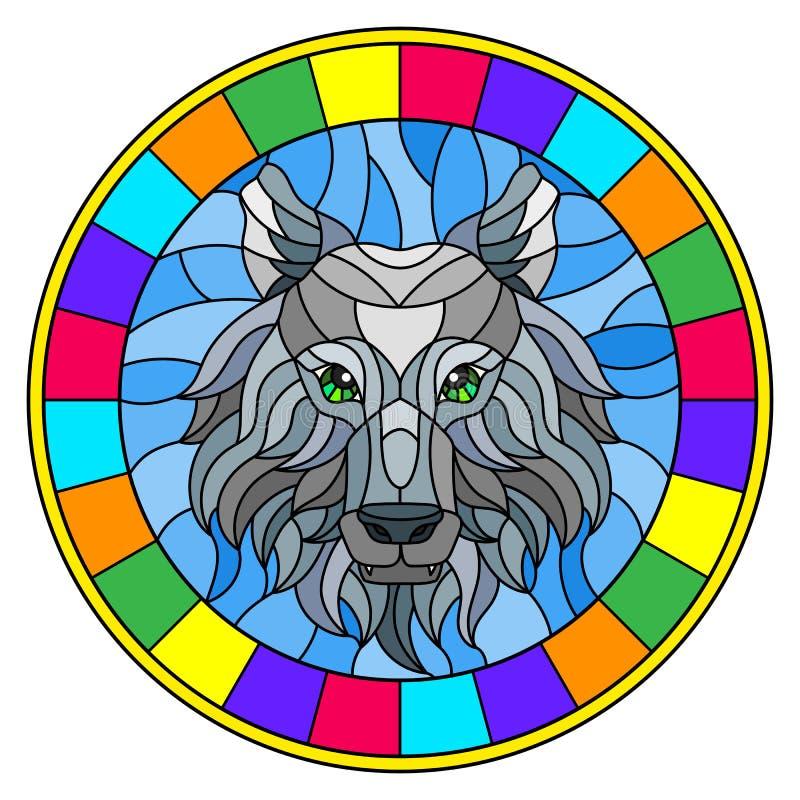 与狼头,与明亮的框架的一个圆图象的彩色玻璃例证 皇族释放例证