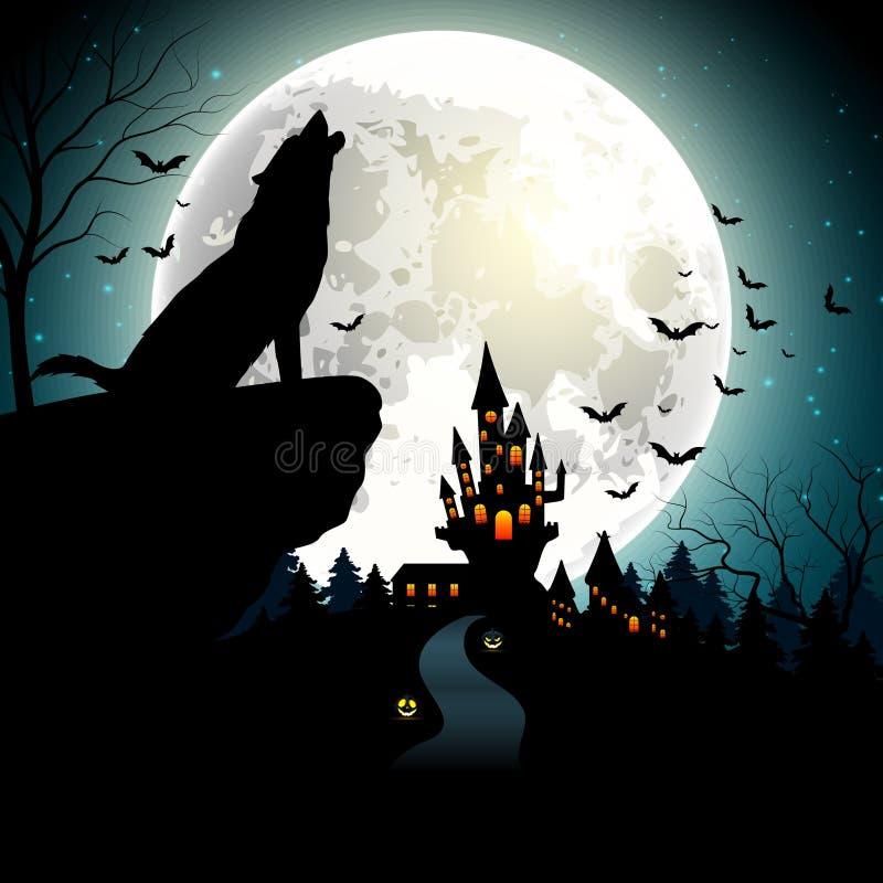 与狼的万圣夜背景在满月 库存例证