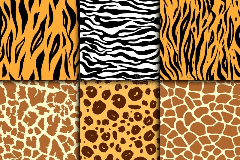 与猎豹皮肤的无缝的样式 向量背景 五颜六色的斑马和老虎、豹子和长颈鹿异乎寻常的动物印刷品 皇族释放例证