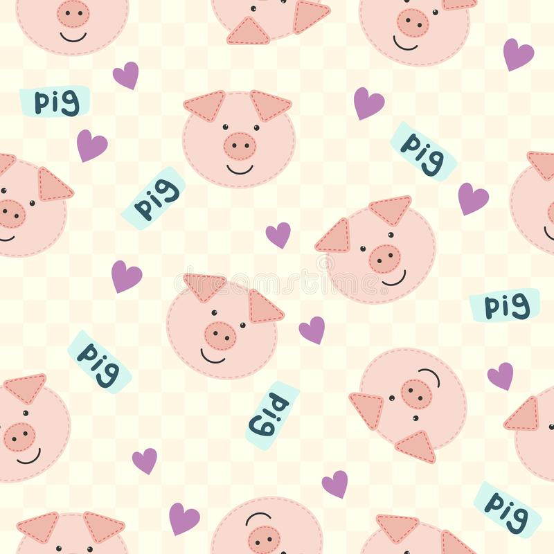 与猪和心脏的无缝的动画片纹理可以使用当织物印刷 也corel凹道例证向量 库存例证
