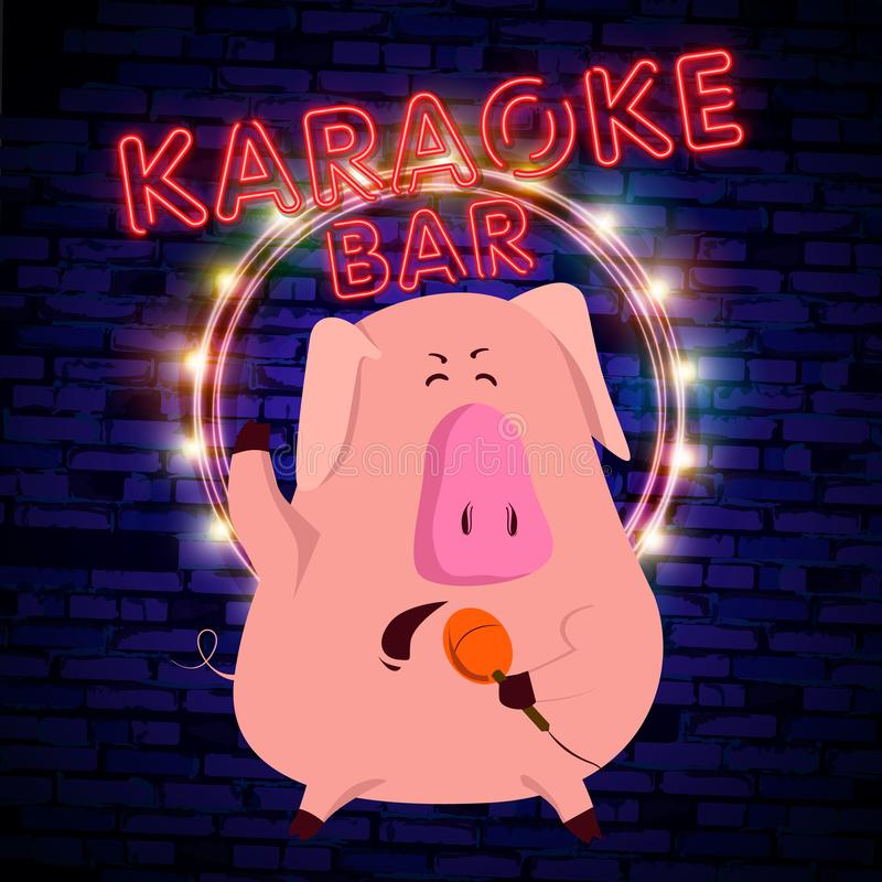 与猪的卡拉OK演唱展示2019年是一个霓虹灯广告 霓虹商标,明亮的光亮横幅,新年霓虹海报,明亮的夜间advertisemen 库存例证
