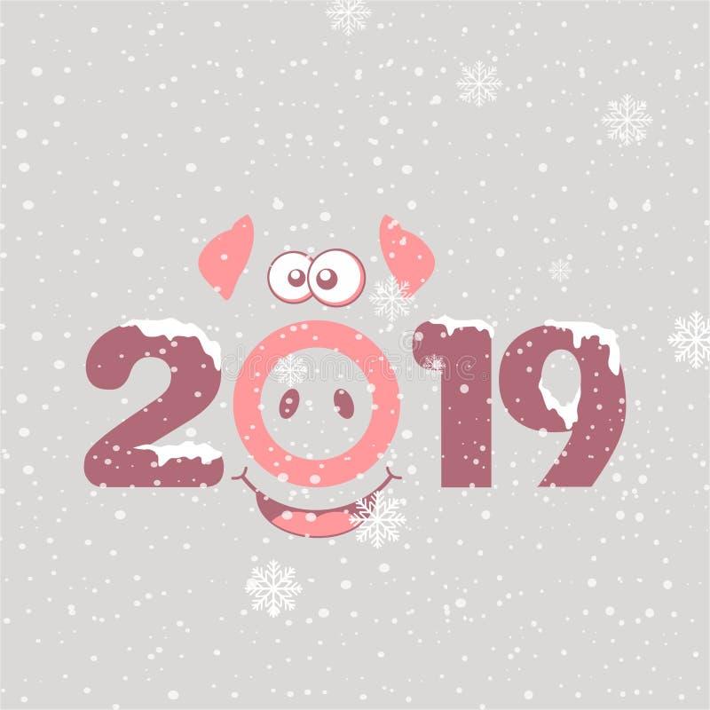 与猪的鼻子的圣诞快乐卡片2019年 库存例证